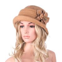 Womens 1920s Winter Wool Cap Beret Beanie Cloche Bucket Hat A299