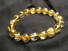 Jewelry Natural Gold Rutilated Quartz Translucent Beads Men Bracelet AAAA 11 mm