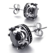 1Pair Retro Stainless Steel Round Royal Crown Mens Womens Stud Earrings 10mm