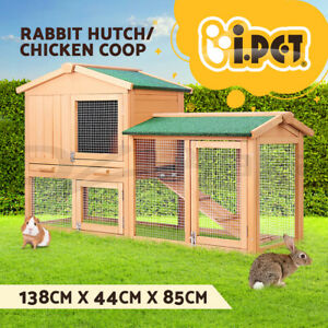 i.Pet Rabbit Hutch Chicken Coop Hutches Large Run Wooden Cage House Outdoor