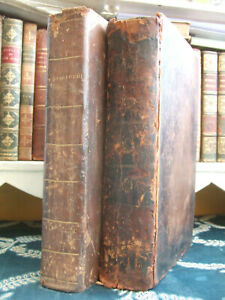 Two old Welsh books in leather bindings - 1843 religion Dysgedydd theology Wales