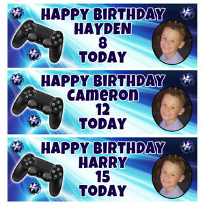 PLAYSTATION PHOTO Personalised Birthday Banner - Playstation Birthday Banner