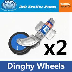 "2x Ark 6"" Boat Dolly Dinghy Wheel with Bracket Clamp Poly Tinnie Wheels Zinc"