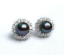 Genuine Black Pearl 18KWGP Crystal Flower Women Stud Earrings New Fashion