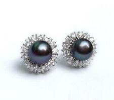 Crystal Stud Earrings Real Black Pearl 18Kwgp