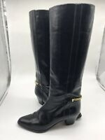 RARE Gucci Tall High Vintage Soho Chain Leather Boots Black Italy 39.5 B EU