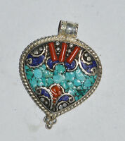 Tribal Asian Ethnic Sterling Silver Pendant Turquoise jewelry  Handmade OCT55