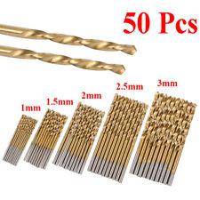 50Pcs Titanium HSS Foret Kit 1/ 1.5/ 2/ 2.5/3mm perceuse Métal Foret DIY à outil