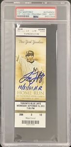 Tino Martinez Signed Full Ticket Baseball Autograph 10/31/01 HR Inscrip PSA/DNA