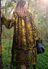 bohemian Boho Kimono velvet Green Gypsy Fringe gold Kimono JUST A PIECE OF ART