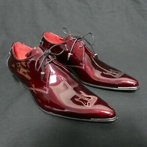 JEFFERY-WEST 'MUSE' Burgundy Red Patent ADAMANT Guitar Laser Lace Up Shoe UK 8