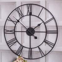 Large black skeleton wall clock retro shabby vintage chic style kitchen decor