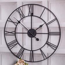 Reloj De Pared grande Negro Esqueleto Retro Vintage Estilo Chic Decoración Hogar Industrial