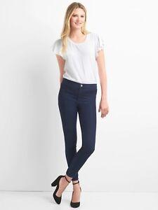 NEW Gap Women Seamed Slim Knit Stretch Leggings Dark Blue Jeans Pants 30T 33 $59