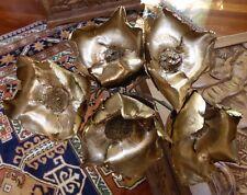 5 X BEAUTIFUL BUNCH DRIED GOLD SPRAYED FLOWERS 80-87CM LENGTH UNUSUAL/STUNNING