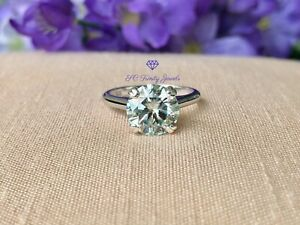 3 ct Certified Light Blue Moissanite Sterling Silver Cathedral Ring Size 6