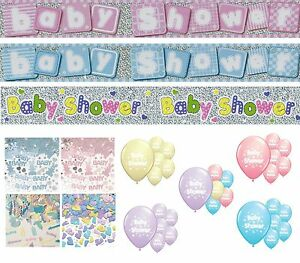 BABY SHOWER PARTY DECORATIONS BANNERS BALLOONS CONFETTI GIRL/BOY DECORATIONS