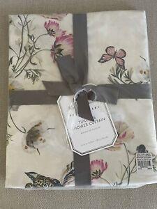 Pottery Barn Monique Lhuillier Tuileries Shower Curtain Floral 100% Cotton NWT
