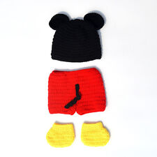 3pcs Baby Boy Girl Mickey Mouse Hat+ Botton+ Boots Crochet Knit Infant Outfit x1