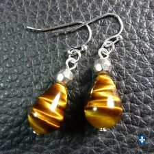 ♥ Cute Short Natural Tiger Eye Drop Pendant Plated Silver Earrings