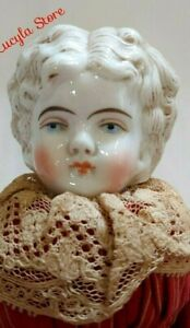 """Antique 11"""" German Hertwig China Head Blonde Low Doll Outfit Original Body #136"""