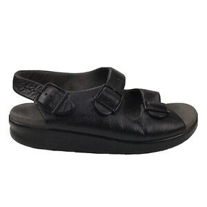 Women's 8.5 W Wide SAS Mystic Slingback Soft Black Leather Sandals Strap Buckle