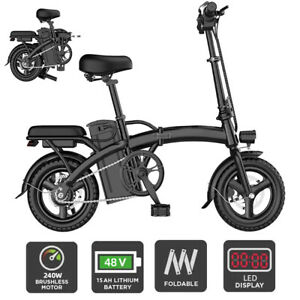 Folding Electric Bicycle Waterproof LED 240W E-Bike with Removable Battery