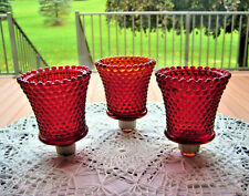 3 Vtg Ruby Red Glass Hobnail Votive Cup Peg Candle Holder Sconces Beaded Pattern