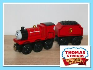 Thomas The Tank Engine Wooden Railway Train JAMES WITH TENDER Excellent