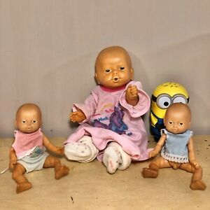 "3 Vintage Emson Newborn Anatomically Correct Baby Dolls 14"" and two 8"""