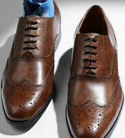 Mens Handmade Shoes Brown Wingtip Brogue Oxford Lace Up Formal Wear Casual Boots