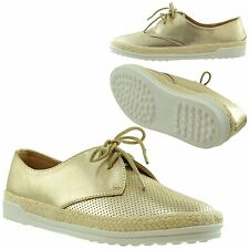 Womens Shoes Flat Comfort Sneakers Snake Print Espadrille Lace Up Gold