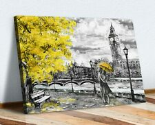 London Big Ben Grey Yellow Umbrella Canvas Wall Art Picture Painting Print