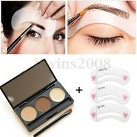 Palette Poudre à Sourcils Pochoirs Eyeliner Eyebrow Brosse Makeup Maquillage Kit