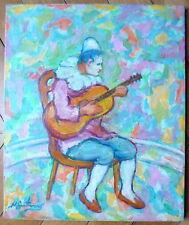 Nathan Gutman Huile sur toile signée Le Cirque le Clown guitariste Judaica Art