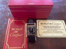 MUST De CARTIER WATCH PARIS 925 ARGENT W/ AUTHENTICATION CARD & BOX VINTAGE