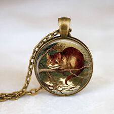 Alice In Wonderland Jewelry • Cheshire Cat Bronze Chain Pendant Necklace