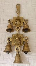 Brass Ganesh Laxmi Wall Hanging Bells Chimes Antique Hinduism Chimes Hindu