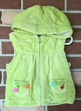 Gymboree Outlet Cozy Cutie Girls 4T 5T Lime Green Velour Hooded Quilted VEST