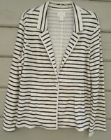CASLON Petites DANA Navy Ivory Striped LS V-Neck Knit Jacket Wms XLP NEW $58