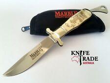 Marbles MR203 Bowie Folding Pocket Knife Scrimshaw Art Bone Handle Clip Blade
