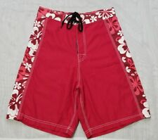 Natural Touch Men's Red/White Floral Board Shorts Surf Swim Trunks Size-30