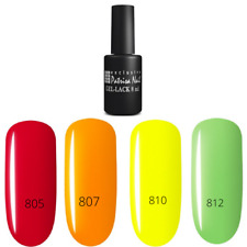 PN Nail Gel Polish LED UV  Set 4 Neon colors Red  Yellow Green Mint  Manicure