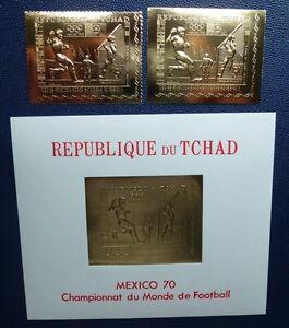 TCHAD 1970 Soccer FIFA World Cup Olympics Gold Michel #306 A + B + Block 7  MNH