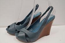 ASH Blue Leather Wooden Stack Wedge Sling Back High Heel Sandals Shoes EU38; UK5