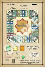 1924 Colorized Patent Art Print Landlord Board Game Monopoly Play Room Poster