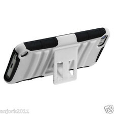 Apple iPod Touch 5 Adv Armor Hybrid Case Skin Cover Stand Accessory White/Black