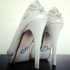 Hago diamante/Rhinestone etiqueta engomada de adorno zapato de cristal de boda algo azul