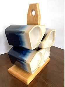4 Padilla Mexico Iridescent Drip Glaze Stoneware Stacking Coffee Cup Mugs Stand