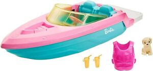 Barbie Boat with Puppy and Themed Accessories, Fits 3 Dolls, Floats in Water